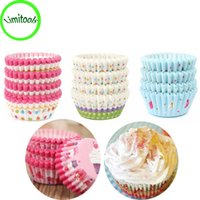 Wholesale muffins paper tray - 100Pcs Paper Cake Cupcake Baking Muffin Box Cup Case Party Tray Cake Mold Decor