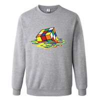 Wholesale long cube online - Melted Cube Funny Black Gray Mens Hoodies and Sweatshirts xl with Hoodies Sweatshirt Men Brand Fashion Plus Size for Men
