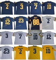 butt gold großhandel-Michigan Wolverines 2 Charles Woodson 10 Tom Brady 3 Rashan Gary 88 Jake Hintern 12 Evans 23 Tyree Kinnel 7 Hudson College Fußballtrikot