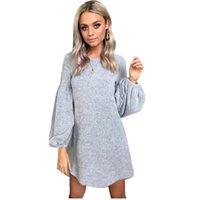 uzun örme kışlık elbiseler toptan satış-2018 Kadın Elbise Puf Kollu Kazak Elbise Kadın Casual Örgü Kış O-Boyun Uzun Kollu Örme Elbise Bayanlar Robe Femme Ücretsiz Kargo