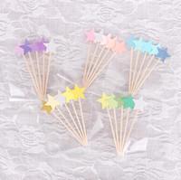 bebek duş kekler toppers toptan satış-Cupcake Toppers Altın Yıldız Kağıt Kek Toppers Çocuk Düğün Bebek Duş Kek Araçları Için Süslemeleri Şekerleri CCA10081 300 adet