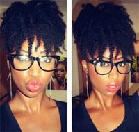 natürliche menschliche haarpferdeschwanzverlängerung großhandel-Afro-verworrenes gelocktes Menschenhaar-Pferdeschwanz-Haar-Verlängerungen 4B 4C Coily natürliches Remy lockiges Klipp in der Pferdeschwanz-Erweiterung Einteiler für schwarze Frauen