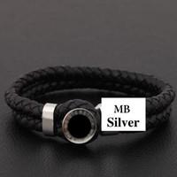 bracelet chaîne en cuir noir achat en gros de-Bracelet en acier inoxydable MB Le plus populaire d'Europe Le choix du bracelet de luxe noir Chaîne en cuir véritable