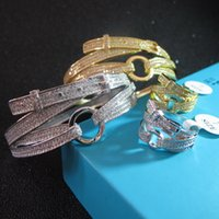 Wholesale Belt Ring Jewelry - wholesale new designer AAA zirconia paved belt bangle 18K yellow gold white gold plated bracelets and rings party jewelry sets for women