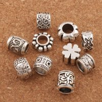 Wholesale european bracelet spacer beads - 100pcs lot Flower Dots Spacer Charms Beads Tibetan Silver Bead Fit European Bracelet Loose Beads Jewelry DIY LM44