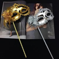 Wholesale ball masks sticks for sale - Princess Woman Mask On Stick Sexy Venetian Costume Ball Maskes Sequin Lace Edge Lateral Flower Gold Silver Color gn ff