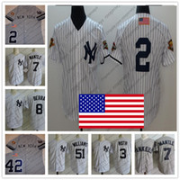 Wholesale vintage jersey baseball - NY 2001 WS USA Flag Vintage Jerseys #42 Mariano Rivera #7 Mickey Mantle #3 Babe Ruth Yogi Berra #2 Derek Jeter Gray White