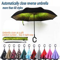Wholesale Auto close Umbrella C Handle Umbrellas Windproof Reverse Folding Double Layer Inverted Sunny Rainy C Hook Umbrella for car