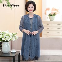 ad2ef1aea17 It s Yiiya Mother of the Bride Dresses Plus Size Summer O-Neck Flower 2  Piece Set Chiffon Fashion Elegant Mother Dress M009