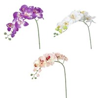Wholesale purple white silver decorations online - 3pcs Artificial Butterfly Orchid Flower Plant Home Decoration Pink White Purple