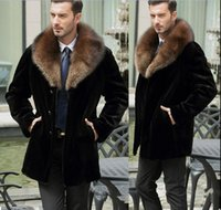 добавить долго оптовых- Men's Faux Fur Peacoat Add Thick Winter Lapel Warm Coat Outwear Jacket Long Outwear Overcoat H8