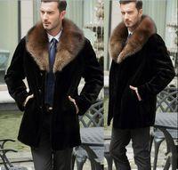 casaco de pele de homem venda por atacado-Peacoat De Pele Falso dos homens de luxo Adicionar Grosso Inverno Lapela Quente Casaco Outwear Casaco Longo Outwear Casaco H8