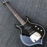 pont de basse électrique achat en gros de-Guitare basse électrique 4 cordes Gene Simmons Punisher noir corps acajou, manche en érable, touche en palissandre 24 frettes, cache pont en chrome