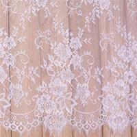 vestidos de casamento brancos bordados pretos venda por atacado-Tecido rendas bordado roupas dyeable branco preto diy francês cílios lace tecido requintado roupas vestido de noiva acessórios 25xs ff