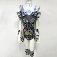 robot de ropa ligera al por mayor-LED Robot Ropa Luminosa Vestido Brillante Danza Robot Luz LED Disfraces Halloween Mardi Gras Carnaval ciencia ficción película