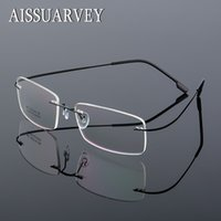 óculos de designer de titânio sem aro venda por atacado-Armações de óculos das mulheres dos homens sem aro óculos optic marca designer prescrição liga de titânio luz de negócios eyewear barato