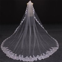 Wholesale cathedral veil without comb - Wholesale Champagne Bridal Veils Amazing One Layer Full Laced 3 Meters Long Wedding Veils Without Comb