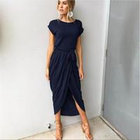 Wholesale xs gold bodycon dress - 2018 Summer Short Sleeve Bodycon Party Dress Plus Size Sexy Women Long Maxi Boho Dress Elegant Female Korean Style Midi Dress