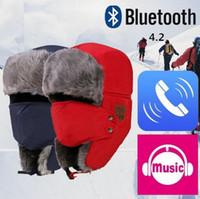 trappeurs achat en gros de-Bluetooth Trapper Hats 3 Couleurs Chaud Sans Fil Smart Cap Casque Appel Musique Hiver Earflap Chapeau Casque Casque Haut-Parleur Bonnets OOA5688