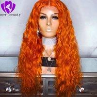 perucas laranja encaracolado venda por atacado-Novo estilo parte do meio cosplay orange cor peruca dianteira do laço sintético Com o Cabelo Do Bebê Pré Arrancadas solto encaracolado Brasileiro Perucas completa 10-30 polegadas
