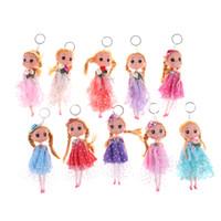 prenses minis bebekleri toptan satış-18 CM Prenses Doll Action Figure Oyuncak Anahtarlık Prenses Bebekler Kız Anime Brinquedos Hediye Mini Bebekler Oyuncaklar