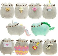 Wholesale wholesale cat stuffed animals - 15cm 10Styles Pusheen Cat Plush Toys Cookie Ice cream Doughnut Rainbow Angle Fat Cat Doll Toys Stuffed Animals Toys GGA237 50pcs