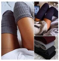 Wholesale Gray Cotton Thigh High Socks - Stockings 7 Colors Fashion Women's Stockings Sexy Warm Thigh High Over The Knee Socks Long Cotton Stockings Girls Ladies Women