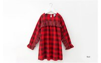 Wholesale teenagers girl dresses online - 4 to year Girls autumn plaid dress child spring fall England style clothes kids teenager boutique clothing R1AH706DS