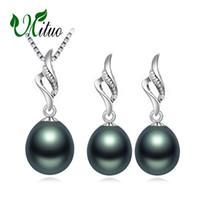 colar de prata pérola negra venda por atacado-MITUO 925 Sterling Silver black Pearl conjuntos de jóias para as mulheres, colar de pérolas do vintage longo brincos, cadeia de jóias de casamento