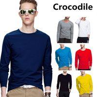 Wholesale Long Shirt Trend Men - New Spring Fashion Brand O-Neck Slim Fit Long Sleeve T Shirt Men Trend Casual Mens Crocodile Embroidery T-Shirt 100% Cotton T Shirts S-5XL