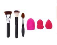Wholesale cleaning makeup brushes - 2017 Professional Newly Design Makeup Brush Sponge Make-up Cleaner Foundation Brushes 5Pcs Set with Free Shipping