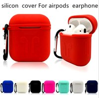 Wholesale ear plugs bluetooth - For Apple AirPods Protective Silicone Case cover Pouch With Anti-lost Strap Dust Plug +Package For iPhone 7 8 plus Bluetooth Earphone
