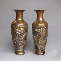 ingrosso pair draghi cinesi-Chinese Royal Palace Rame Bronzo Dragon Phoenix Gioca Bead Bottle Pot Vaso Pair