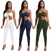 Wholesale Green Strapless Bodycon Dress - New Brands Women Dress Suits Fashion Strapless Two Piece Pants Lady Party NighWear Club Clothing Bodycon Dresses Casual Jumpsuit