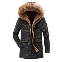 männer sind lange jacken großhandel-Neue Männer Winterjacke Mantel Mode Qualität Baumwolle Gepolsterte Winddicht Dicke Warme Weiche Marke Kleidung Mit Kapuze Männlichen Unten Parkas