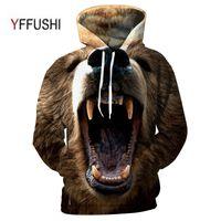 neuheit plus größen-sweatshirts großhandel-YFFUSHI 2018 3D Männer Frauen Hooded Pullover Mode Roaring tier 3d Sweatshirts Casual Tasche Outwear Neuheit Mantel Plus Größe 5XL