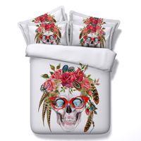 Wholesale 3d skull bedding resale online - 3D diamond eye skull Duvet Cover floral Bedding Sets Human skeleton Bedspreads Holiday Quilt Covers Bed Linen Pillow Covers comforter cover