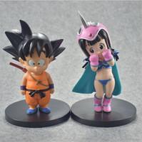 boda de dragon ball al por mayor-Dragon Ball Z Goku ChiChi Wedding Set PVC figura de acción Dragonball Childhood Goku ChiChi Collection Model Toys
