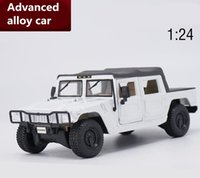 model military vehicle Canada - Collection model car 1:24 scale advanced diecast model car,high simulation military Hummer H1 HX,alloy toy vehicles white color