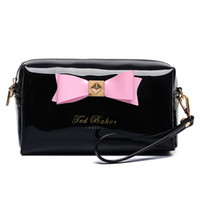 Wholesale beige bow clutch - Fashion jelly bow large capacity simple easy shoulder clutch bag cosmetic bag