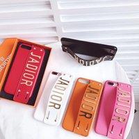 band iphone cases toptan satış-Lüks Marka Deri Perçin Telefon Kılıfı için iphone X 8 8 Artı 7 6 6 artı 6 s artı arka kapak Kayışı Band Tarzı