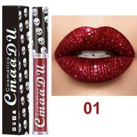 Wholesale lipstick color long lasting for sale - Brand CmaaDu Cosmetics Laser Skull Glitter Flip Lipgloss Metal Lipgloss Shinning Long Lasting Metallic Lipstick colors