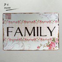 Wholesale tin letter signs resale online - DL Vintage Retro Floral Letter FAMILY Tin Sign Metal Plaque Home Wall Decor