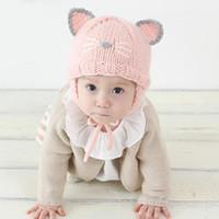 kız başlıklar fotoğrafları toptan satış-Bebek Bebek Kız Şapka Çocuklar Kış Sıcak Şapkalar Kedi Örme Kap Fotoğraf Sahne Aksesuarları