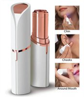 Wholesale micro epilator online - Dropshipping Lipstick Facial Hair Remover Face Hair Removal Epilator Painless K Gold Plated Remover