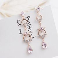 длинные серьги цепи для девочек оптовых-Korean Style Cross Round Circle Chain Long Water Drop Rhinestone Pendant Earrings for Girls Women New Fashion Jewelry EC901