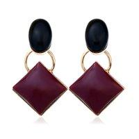 charme quadratische muster großhandel-Fashion Red Square Ohrringe Vintage Geometrische Muster Ohrringe Lange Platz Ohrstecker Frauen Schmuck Als Geschenk