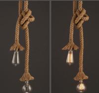 edison tarzı kolye toptan satış-Retro Vintage Halat Kolye Işık El Örme Lamba Loft Yaratıcı Kişilik Endüstriyel Lamba LED Edison Ampul Amerikan Tarzı A792