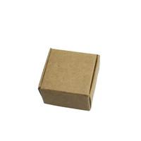 caja de embalaje de galletas al por mayor-4 * 4 * 2.5 cm 50 Unids / lote Galletas Jabón hecho a mano Banquete de boda Cajas de empaque Dulces Marrón Kraft Craft Papel Paquete de joyas Cajas de regalo