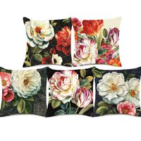 Wholesale tulips oil painting - European Vintage Oil Painting Floral Art Cushion Cover Camellia Tulip Peony China Rose Flower Cushion Covers Linen Cotton Pillow Case